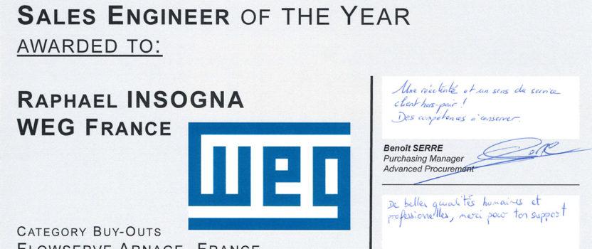 Flowserve France décerne à Raphaël Insogna le trophée du meilleur ingénieur des ventes