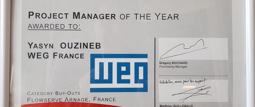 Un trophée FLOWSERVE récompense pour la deuxième année consécutive un salarié de WEG France, Yasyn Ouzineb