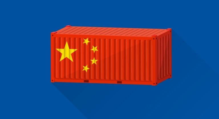 conteneur avec un drapeau de la chine